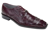 Men's Burgundy Genuine Ostrich