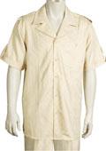 SKU#AA452  SKU#KA8559 Leisure Walking Suit Men's 2 Piece Short Sleeve Walking Suit - Buttoned Accents Taupe