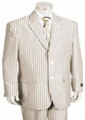 SKU#KA5590 2 Button Jacket Pleated Pants Pronounce Pinstripe seersucker suits for men