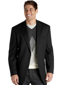 SKU#HR6492 Mens 2 Button Black Herringbone Sport Coat $175