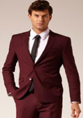 Mens 2 Button Style Suit Burgundy ~ Maroon ~ Wine Color flat front pants $120