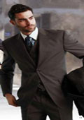 Mens Classic 3 Piece Super 150s Pleated Pants Italian Fabric 2 Button Suit Grey $175