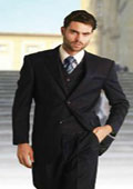 Mens Classic 3 Piece Super 150s Pleated Pants Italian Fabric 2 Button Solid Navy Suit $199