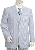 Mens 2pc 100% Cotton Seersucker Suits BlueoffWhite $159