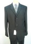 Buttons Super 120's Jet Black Pinstripe 1 Pleat Pants $175