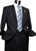Mens 2 Button Black Pinstripe Designer Suit Black $249
