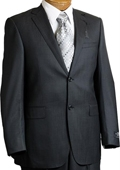 SKU#TH9012 Mens 2 Button Charcoal Pin Italian Designer Suit Charcoal $399