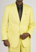 SKU#WQ2921 Men's 2 Button Yellow Suit $175