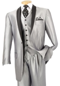 SKU#FM3922 Mens 3 Piece High Fashion Suit Shiny Silver $175