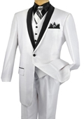 SKU#RZ1247 Mens 3 Piece High Fashion Suit Shiny White $175