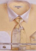 SKU#QV6822 Men's Banana French Cuff Shirts with Cuff Links $65