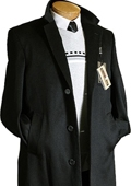 Mens Black Cashmere Wool Trench Coat