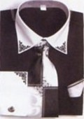 SKU#CX1324 Mens Black French Cuff Shirts with Cuff Links $65