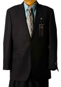 SKU#YQ8945 Mens Black Pinstripe Italian Designer Suit Black $129