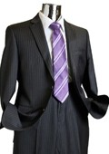 Mens Charcoal Pinstripe 100% Wool Suit Charcoal $249