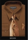 SKU#BR9493 Men's Classic Dress Shirt Brown $39