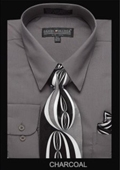 SKU#CH3222 Men's Classic Dress Shirt Charcoal $39