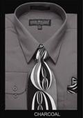 SKU#CH3222 Men's Classic Dress Shirt Charcoal $39