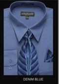 SKU#DB6790 Men's Classic Dress Shirt Denim Blue $39