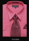 SKU#FU9922 Men's Classic Dress Shirt Fuchsia $39