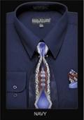 SKU#NV9272 Men's Classic Dress Shirt Navy $39