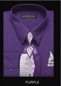 SKU#PL5656 Men's Classic Dress Shirt Purple $39