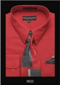 SKU#RE4321 Men's Classic Dress Shirt Red $39