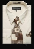 SKU#SD6801 Men's Classic Dress Shirt Sand $39