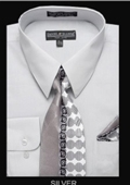 SKU#SV5981 Men's Classic Dress Shirt Silver $39