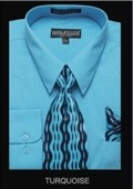 SKU#BK9182 Men's Classic Dress Shirt Turquoise $39