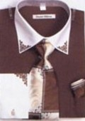 SKU#FN3323 Mens Dark Brown French Cuff Shirts with Cuff Links $65