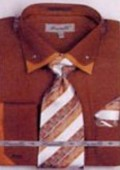 SKU#QH5381 Men's Double Collar French Cuff Shirts with Cuff Links Brown $65