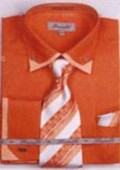 SKU#LR7153 Men's Double Collar French Cuff Shirts with Cuff Links Rust $65