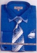 SKU#TY6719 Men's Double Collar French Cuff Shirts with Cuff Links Turquoise $65