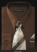 SKU#BR6001 Men's Dress Shirt - PREMIUM TIE - Brown $39