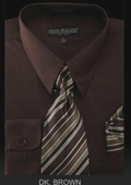 SKU#BZ9922 Men's Dress Shirt - PREMIUM TIE - Dark Brown $39