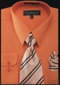 SKU#OR4343 Men's Dress Shirt - PREMIUM TIE - Orange $39