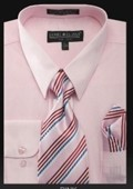 SKU#PN_J22 Men's Dress Shirt - PREMIUM TIE - Pink $55