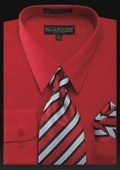 SKU#RD7921 Men's Dress Shirt - PREMIUM TIE - Red $39