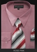 SKU#ZX8743 Men's Dress Shirt - PREMIUM TIE - Rose Pink $55