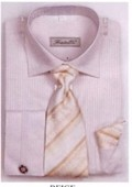SKU#GU5038 Men's French Cuff Shirts with Cuff Links Beige $65