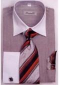 SKU#LW6051 Men's French Cuff Shirts with Cuff Links Black $65