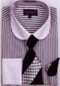 SKU#UB8021 Men's French Cuff Shirts with Cuff Links Black $65