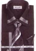 SKU#BQ1039 Men's French Cuff Shirts with Cuff Links Black $65