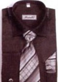 SKU#HF6703 Men's French Cuff Shirts with Cuff Links Black $65
