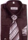 SKU#HF6703 Men's French Cuff Shirts with Cuff Links Black $65
