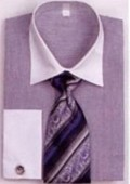 SKU#PW5802 Men's French Cuff Shirts with Cuff Links Blue $65