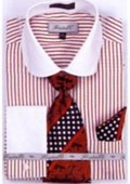 SKU#PZ3029 Men's French Cuff Shirts with Cuff Links Burgundy $65