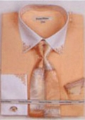 SKU#JI3467 Men's French Cuff Shirts with Cuff Links Coral $65