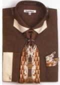 SKU#GR7548 Men's French Cuff Shirts with Cuff Links Dark Brown $65